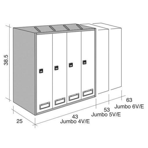 misure casellario 6 posti verticale