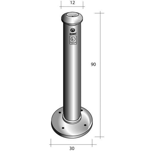 misure posacenere autoportante alluminio