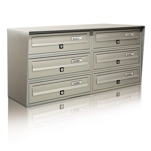 casellario postale 6 posti verniciato argento