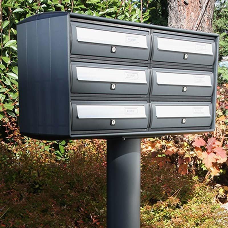 Casellario Postale verniciato grigio ghisa con elemento mobile Argento