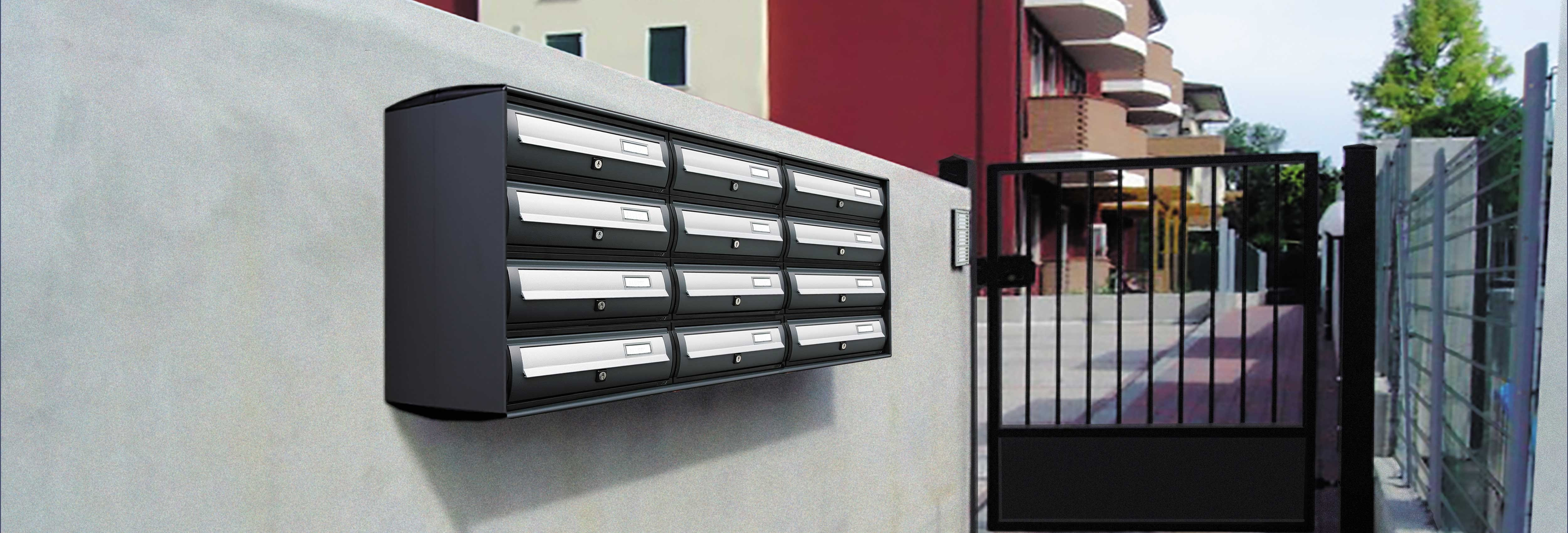 Curve 1 Mailbox set with outer casing and cast iron grey doors with silver flaps